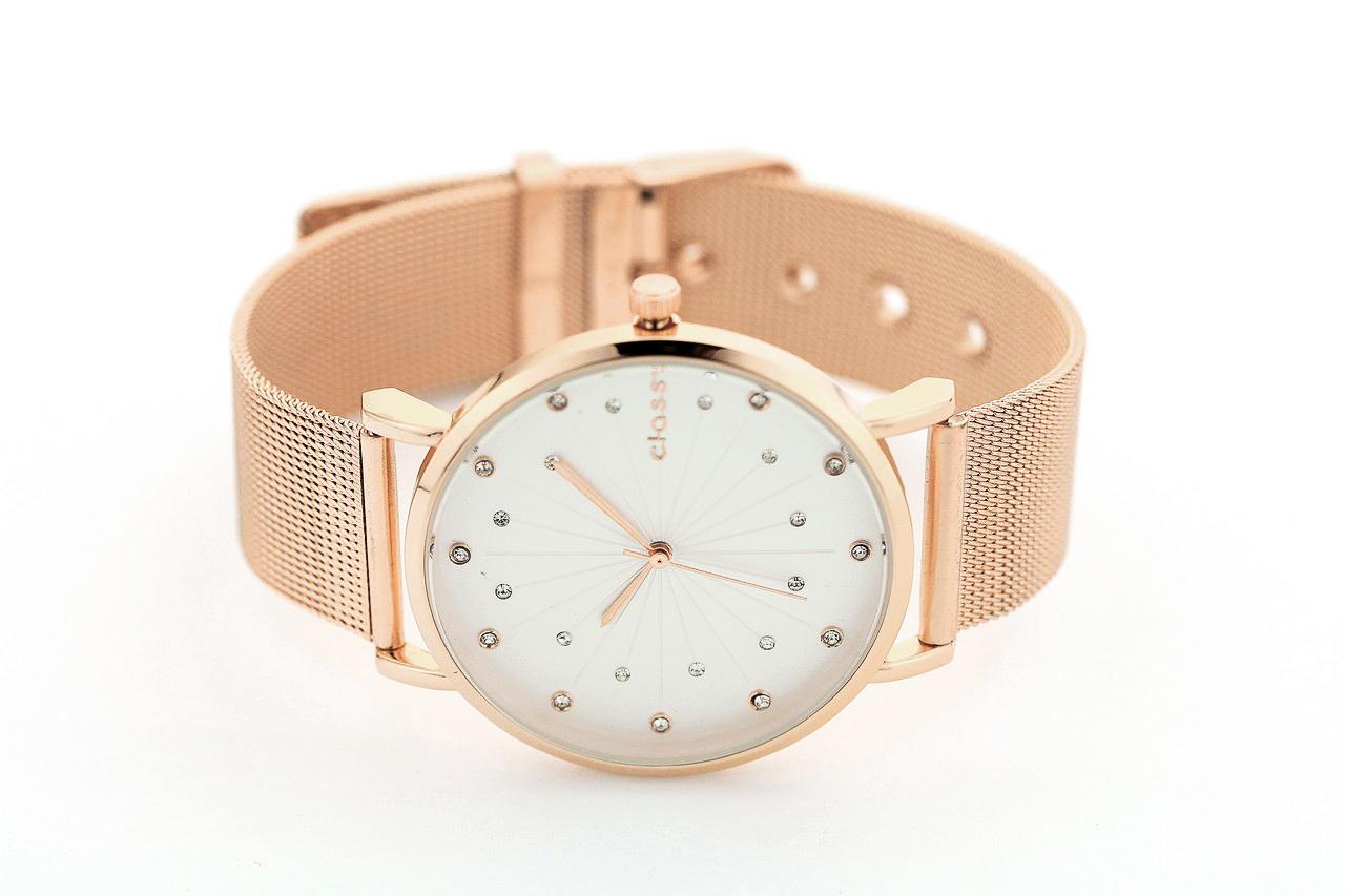 36592e9a16f8e5 Zegarek damski classy kryształki na bransolecie różowe złoto - sklep ...